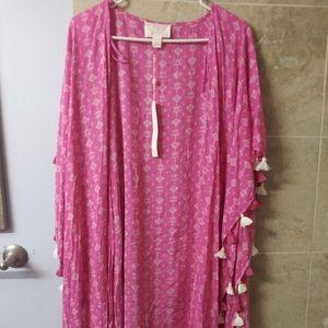 Caslon OS swim cover up kimono flowy tassle new